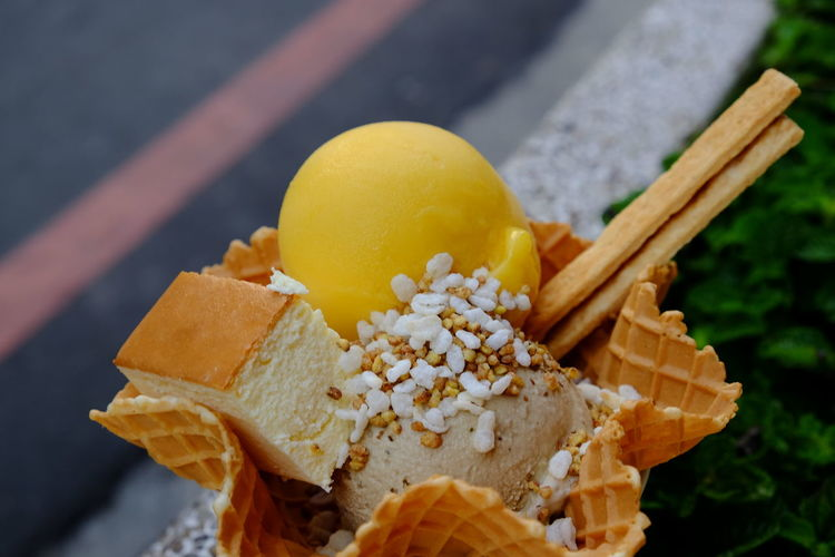 Close-up of ice cream with cake