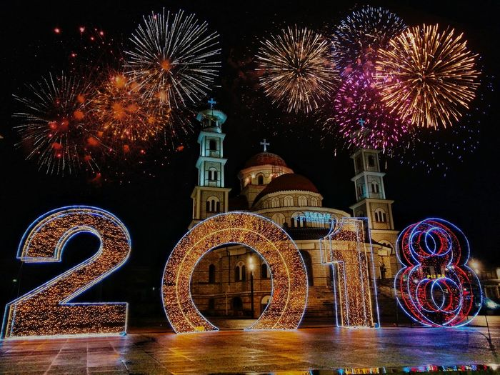 2018 No People Firework - Man Made Object Arts Culture And Entertainment Illuminated Outdoors