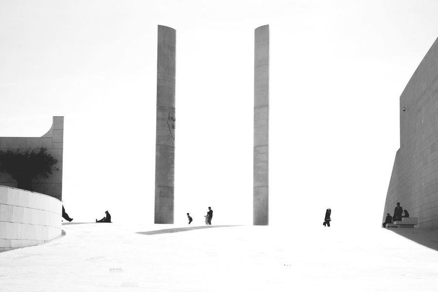 People And Places Built Structure Architecture Building Exterior Sky Tall - High Outdoors Day Stone Material Monument Tall Tourism Famous Place Mountain Lisbon - Portugal Black And White Friday The Graphic City