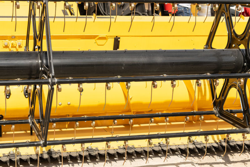 High angle view of yellow metallic structure