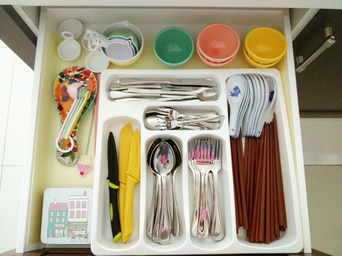 High angle view of cutlery