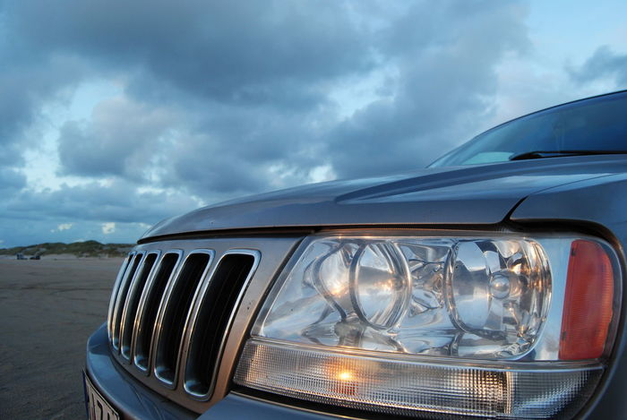 Jeep Grand Cherokee WJ Beach Cloud - Sky Transportation Headlight No People Day Nature Outdoors Car Sky Eye4photography  EyeEm Best Shots Danmark Sunset Water Sand Jeep Grandcherokee  Jeep Life ❤ 4x4 4x4 Travel