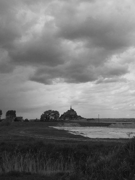Mont Saint-Michel Bretagne France Noir Et Blanc Black & White