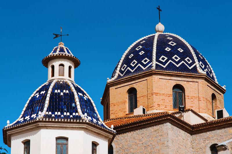 Church of the virgin del consuelo against clear blue sky