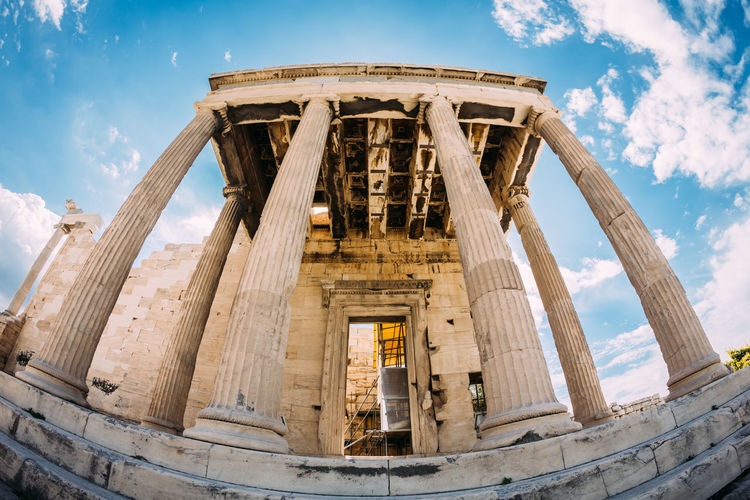 Erechtheion Acropolis Ancient Ancient Greek Architectural Column Architecture Built Structure Capital Cities  Column Damaged Deterioration Erechtheion Famous Place Fisheye History Low Angle View Monument Old Old Ruin Outdoors Sky Temple - Building The Past Tourism Travel Destinations