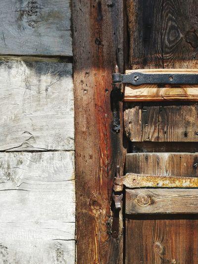 Closed wooden door
