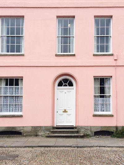 Building Exterior Houses And Windows Rosé White Door Town House Street Photography Street Streetview Architecturelovers Colourlovers Architectural Detail British Flat Perspective Flat Frontal