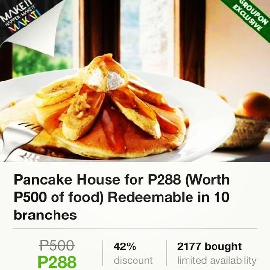 2K+ already bought this deal. Only at www.groupon.ph GrouponPH Pancakehouse