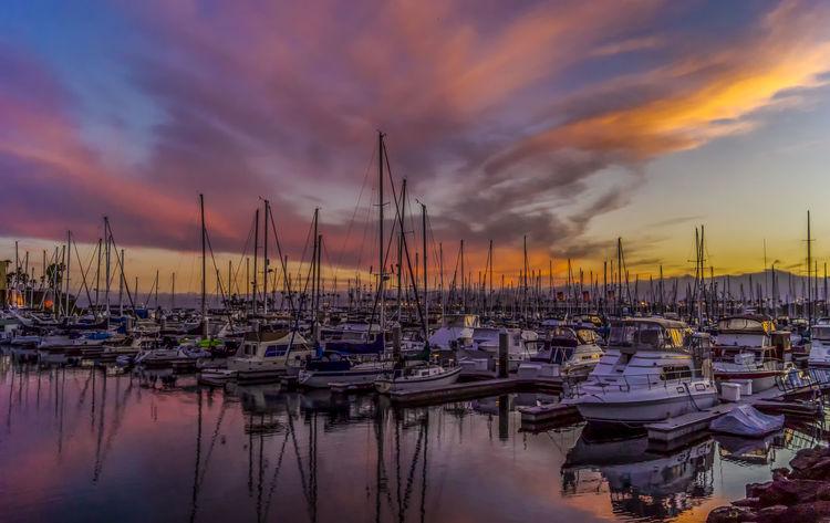 Boat Harbor In A Row Long Beach, California USA  Marina No People Outdoors Sailboat Sunset Water