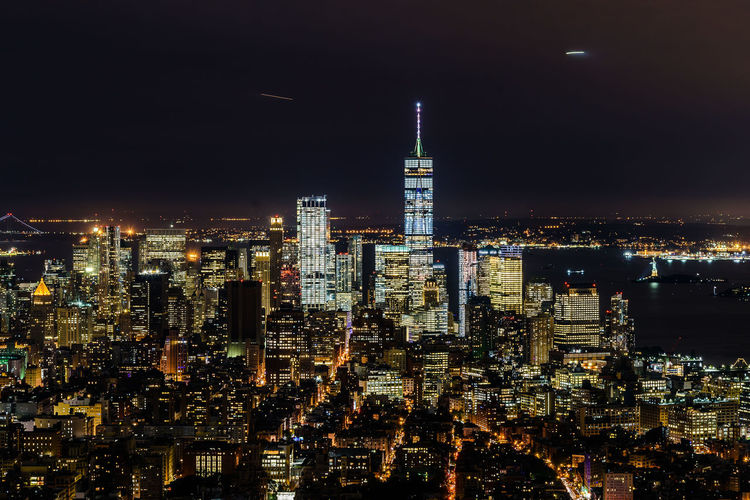 Manhattan New York City USA Aerial View Architecture Building Exterior Built Structure City Cityscape Illuminated Modern Night No People One World Trade Center Outdoors Sky Skyscraper Tower Travel Destinations Urban Skyline