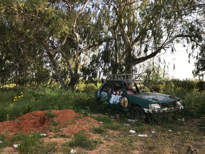 Car Tree Transportation Camping Day Abandoned Field Nature Outdoors Tent No People Sky