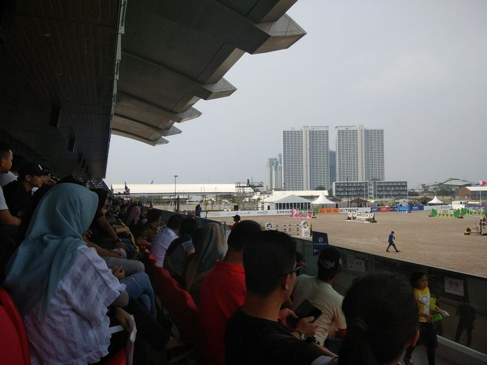 Stadium Atmosphere Equestrian People Watching Asiangames2018 Venue Horsejumping City Crowd Cityscape Urban Skyline Sky Architecture Visiting