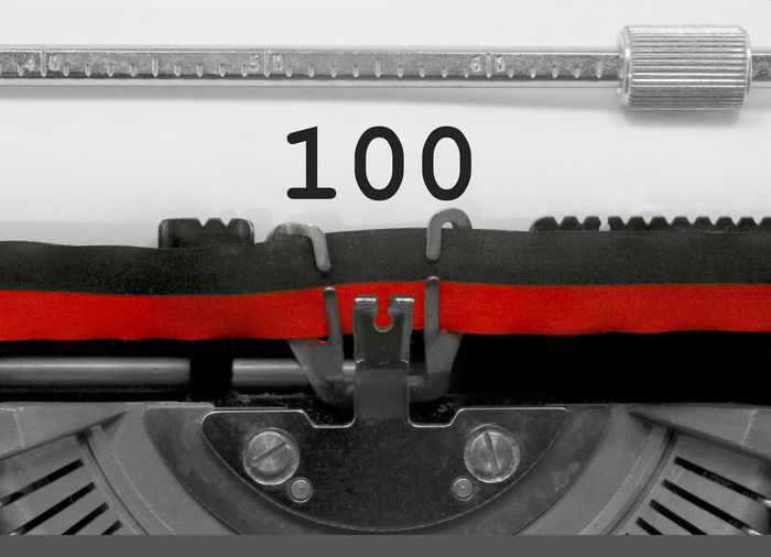 100 Number by the old typewriter 100 1oo BIG HUNDRED NR Numbers Only Retro Text Type Writer Writing Backgrounds Cent Nostalgia Number Numbers Numeral Numerals Numeric Page Single Typewriter Typewriting Typing Vintage Written