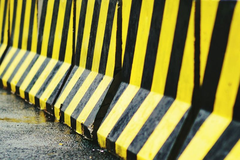 Close-up of barricade on road