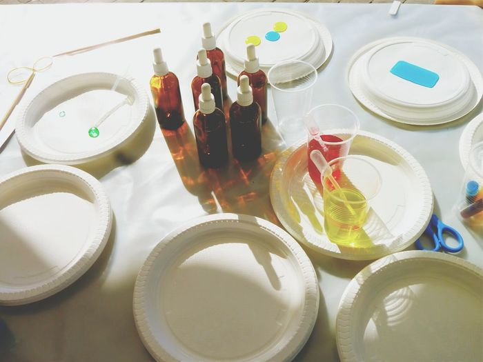 High angle view of plates with bottles on table in laboratory