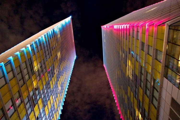 Architecture Built Structure Night No People Illuminated Multi Colored Building Exterior Modern City Outdoors Building Low Angle View
