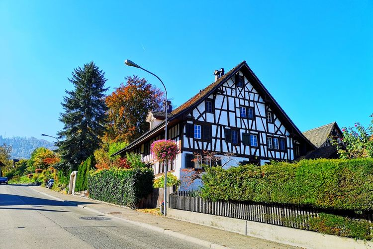 Autumn Autumn colors Autumn Collection Autumn🍁🍁🍁 Timbered House Building Exterior Building House Architecture Architectural Column Architecture_collection Village Village Life Village Photography Switzerland Traditional House Cosy Blue Sky Tree Hedge Tree Sky Architecture Building Exterior Built Structure Fall Change EyeEmNewHere