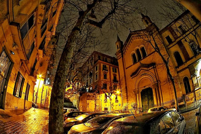 Occhio di pesce Building Exterior Architecture Built Structure Night Illuminated City Transportation No People Sky Nature Outdoors
