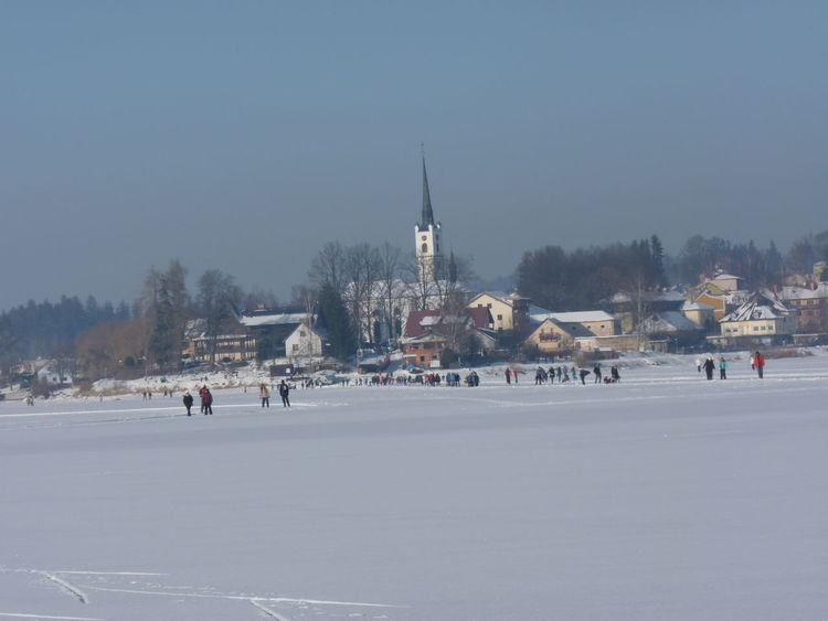 A beautiful town of Frymburk in the wintet Ice Lipno Landscape Town TOWNSCAPE Czech Republic Czechia Winter Snow Cold Temperature Winter Sport Frozen Snowing Ice Hockey Day Outdoors