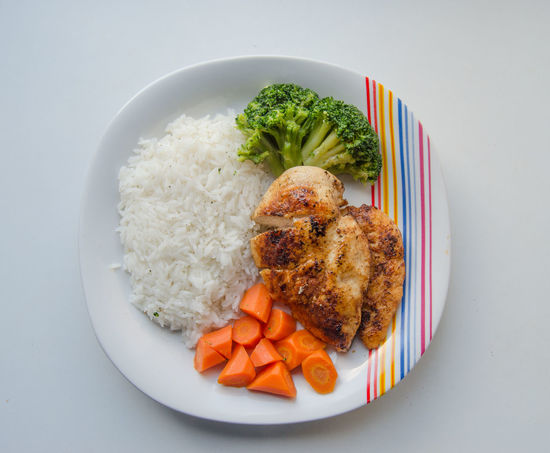 Healthy Chicken, Rice and Vegetables plate Broccoli Brocolli Carrot Carrots Food Food And Drink Healthy Eating Meal Overhead View Plate Ready-to-eat Rice Top Perspective Vegetable Yummy