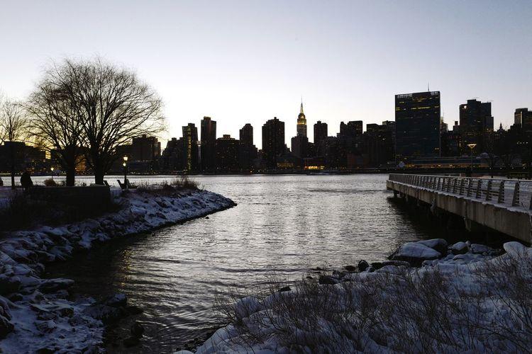 Gantry Plaza State Park, Feb. 2017 Longislandcity LIC NYC Queens East River Snow Winter Sunset Twillight Urban Landscape Cityscape Skyline Leicaq Shades Of Winter