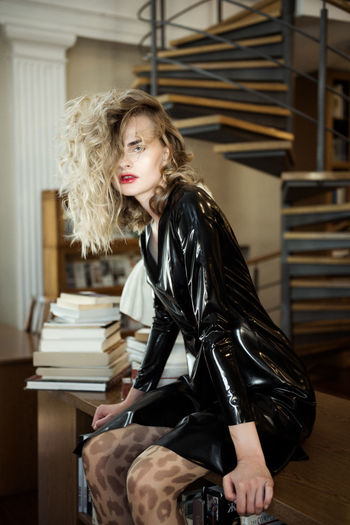 Smooth Confess Stairs Library Books Latex Dress  Black Dress Curly Hair Red Lips Fashion Model Pretty Face  Gorgeous Girl Beauty Lady Linas Was Here International Women's Day 2019