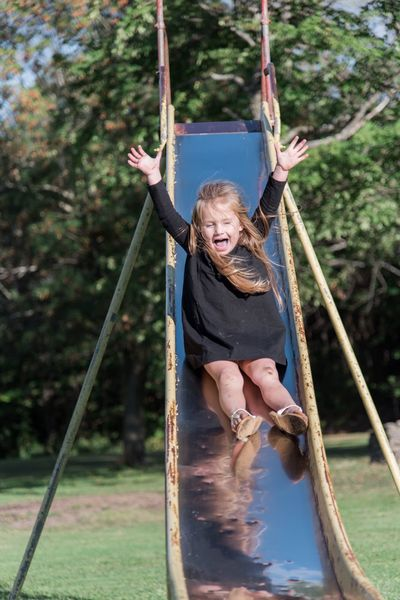 Playground fun Happy Girl  Little Girl Childhood Playground Rope Swing Swing Rope Fun One Person Smiling Casual Clothing Outdoors Happiness Day Front View Leisure Activity Full Length Outdoor Play Equipment Playing Real People
