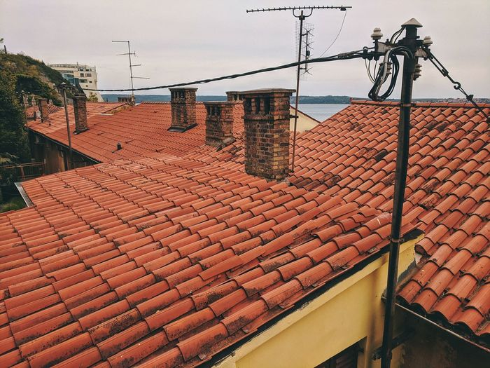 Tilt image of roof and houses against sky in city