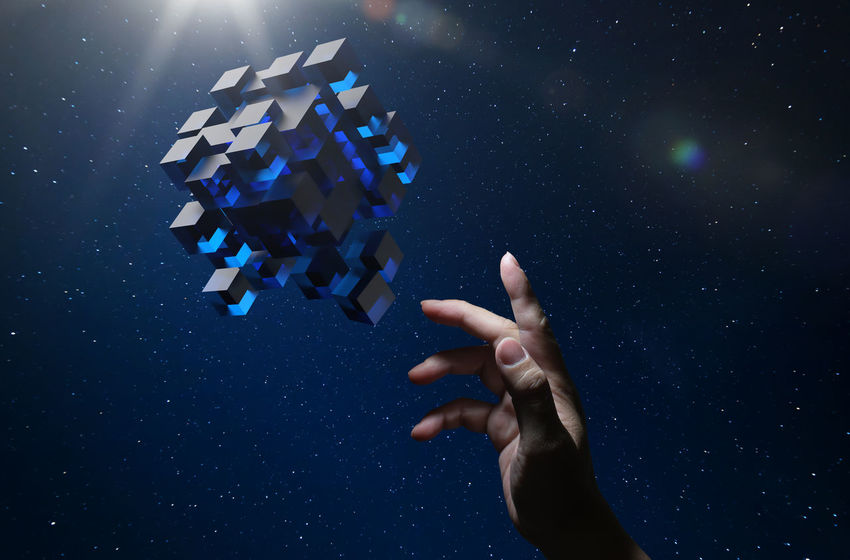 Blue Body Part Close-up Digital Composite Finger Hand Holding Human Body Part Human Finger Human Hand Indoors  Large Group Of Objects Leisure Activity Nature Night One Person Purple Real People Star - Space Studio Shot Unrecognizable Person