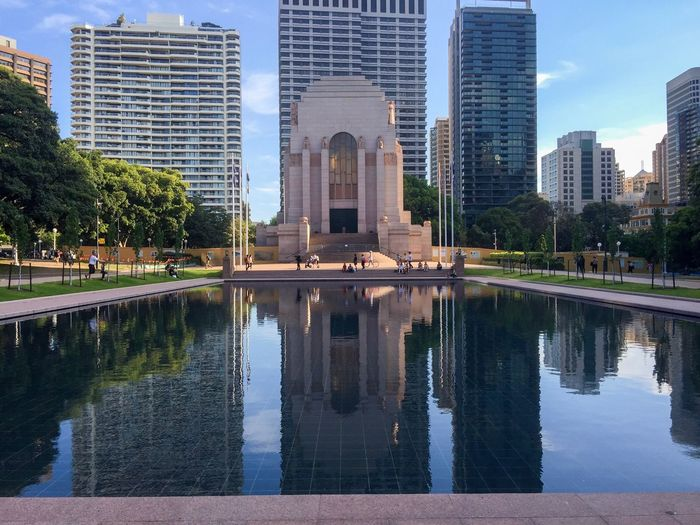Hyde Park War Memorial and Reflection Pond Reflection Architecture City Water Skyscraper Tree Travel Destinations Modern War Memorial ANZAC Memorial Tourist Attraction  Peaceful Mirrored Meditation Garden Diminishing Perspective (null)Park - Man Made Space Australia City Park Sydney Hyde Park Pond City Life Perspective