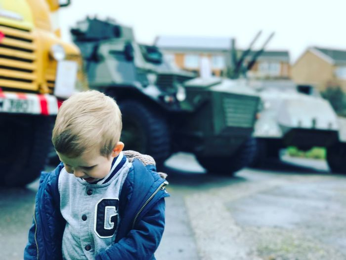 Childhood Car Boys Focus On Foreground Real People One Person Outdoors One Boy Only Land Vehicle Day Toddlerlife Toddlerswag Toddler  Winter Military