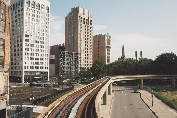 Railway bridge in city