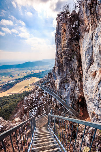 Felsenpfad Nature Photography Architecture Beauty In Nature Bridge Building Exterior Built Structure Cloud - Sky Connection Day Footbridge High Angle View Hohe Wand Landscape Mountain Nature No People Outdoors Railing Rock Rock - Object Rock Formation Sky Staircase Steps And Staircases