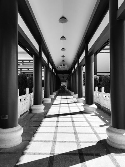 Zu Lai Temple Shadows Temple Zu Lai Temple Chinese Temple Chinese Culture Chinese Architecture Bnw Bnw_collection Bnw Architecture City Architectural Column Shadow Architecture Built Structure vanishing point The Way Forward Arch Historic Archway Passage History EyeEmNewHere