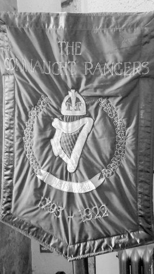Connaught Rangers British Army Military Banner from Galway in Ireland Black & White
