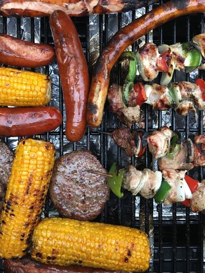 High angle view of food on barbeque grill