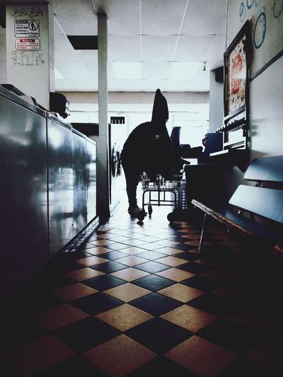 Dog standing in corridor
