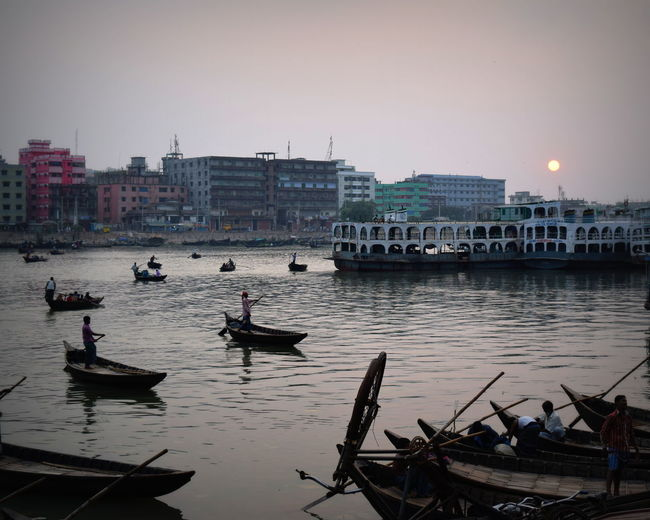 Architecture Beauty In Nature Boat Building Exterior Built Structure City City Life EyeEm Gallery Harbor Landscape_Collection Mode Of Transport Nature Nautical Vessel Reflection River Collection River View Scenics Sea Sky Sun Tranquil Scene Tranquility Transportation Dramatic Angles in Dhaka, Bangladesh Connected By Travel