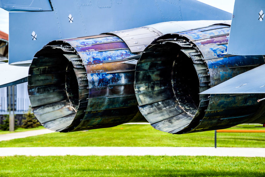 Double jet engine in a MIG21 fighter AirPlane ✈ Jet Airplane Jet Engine Airplane Close-up Day Grass Mig21 No People Outdoors Reflection Shiny Sky