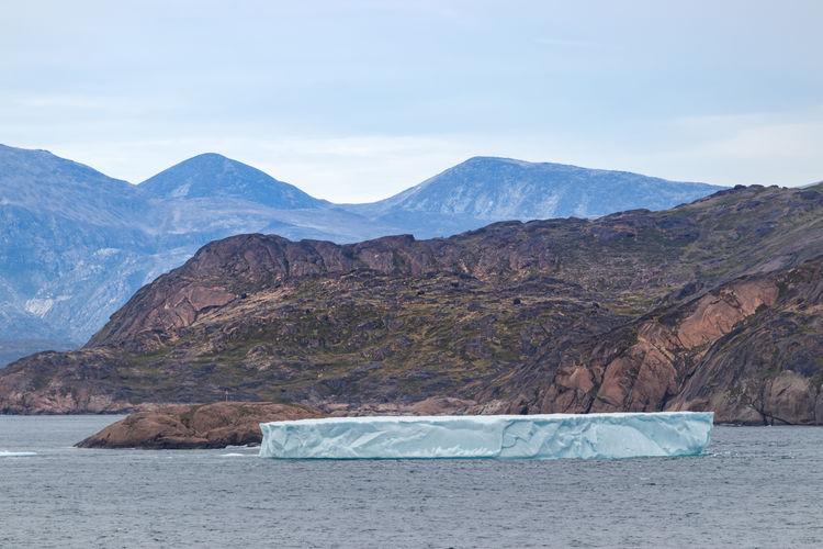 Iceberg at the skjoldungen fjord, a coastal island in greenland.