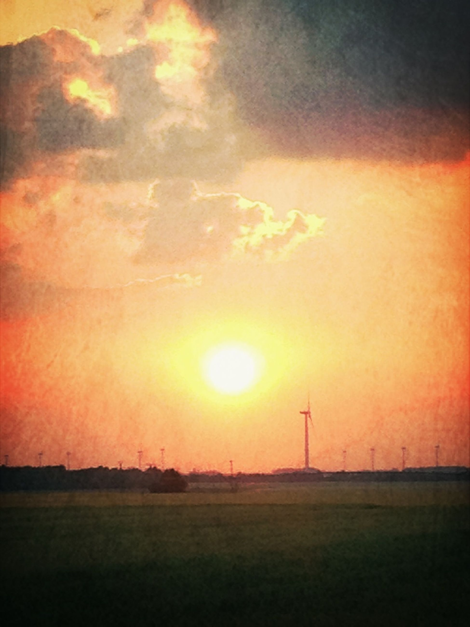 sunset, landscape, sun, orange color, field, sky, scenics, tranquil scene, tranquility, beauty in nature, rural scene, nature, cloud - sky, idyllic, silhouette, fuel and power generation, dramatic sky, grass, electricity pylon, horizon over land