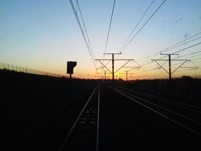 Railroad Track Sunset Transportation Rail Transportation Silhouette Sky Outdoors Nature Beauty In Nature Good Morning Train Railroad Sunshine Sun