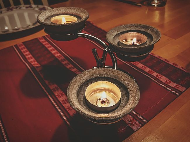 Christmas time!!! Christmas Decoration Flame No People Tea Light Table Indoors  High Angle View Candle Family Design Stone Material