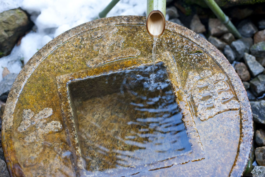 Close up on traditional ritual washing basin at the Ryoan-Ji Tsukubai temple in Japan Bamboo Buddhist Cleansing Cleansing Ritual Freshness Kake No People Plant Purification Ritual Water