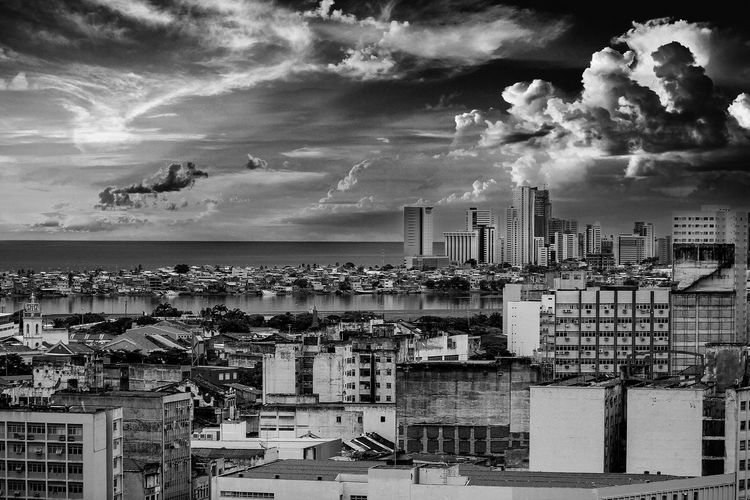 View of the city Architecture Blackandwhite Building Exterior Built Structure City Cityscape Cloud - Sky Day Harbor No People Outdoors Sea Sky Social Issues Urban Skyline Black And White Friday