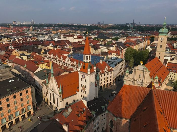 Red Roofs Marienplatz Architecture Built Structure City Building Exterior Cityscape Building High Angle View Sky Residential District Crowd Cloud - Sky Roof Nature City Life Sunlight Crowded Day Outdoors Town TOWNSCAPE