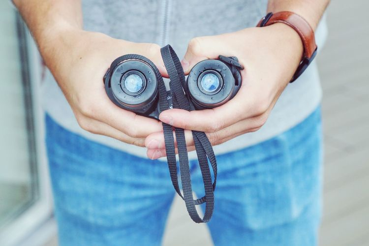 Jeans Man Binoculars Blue Close-up Day Hipster Holding Human Body Part Human Hand Looking Low Section Men Midsection Outdoors People Real People Searching Technology Watch Watching Women A New Perspective On Life