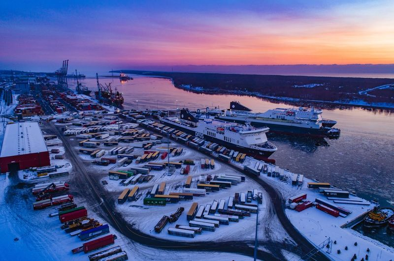 Purple sunset Phantom 4 Pro Freezing Sunset Dfds Lithuania Sea Water Beach Sunset Horizon Over Water Outdoors Nature High Angle View Scenics Nautical Vessel Winter Beauty In Nature Tranquility Harbor Sky Cold Temperature No People Commercial Dock Night Snow