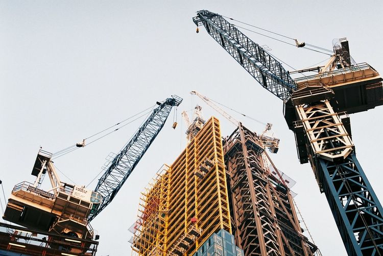 """Analogue Photography Architecture Built Structure City Construction Construction Site Crane Crane - Construction Machinery Day Development Film Growth Incomplete Lookingup Low Angle View No People Noedit Nofilter Outdoors Perspective Sky Tall Tall - High Urban Urban Geometry """"...Grandir"""""""
