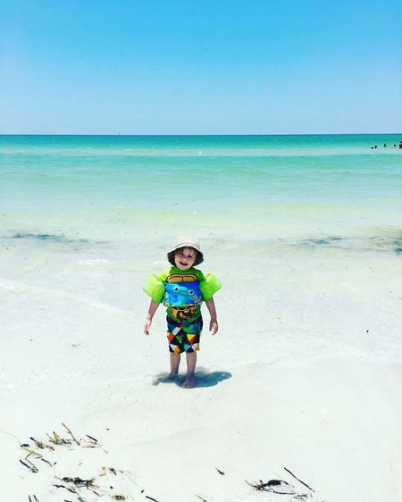Beach Sea Full Length Portrait Of A Toddler Portrait Water Shore Sand Horizon Enjoyment Enjoying Life Tadaa Community Summer Blue Nature Nature Is My Best Friend Beauty In Nature Cute Fun Tranquility Sky Vacation Day Outdoors Nature Photography